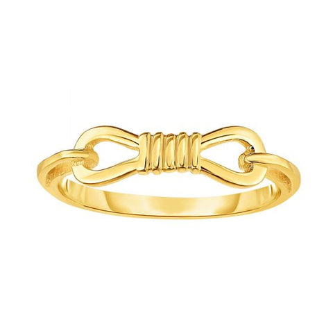 14K Yellow Gold Delicate Buckle Knot Ring
