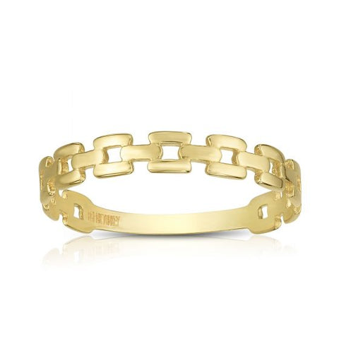 14K Yellow Gold Delicate Chain Link Ring