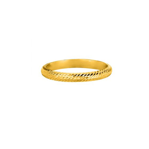 14K Yellow Gold Diamond Cut Band Ring
