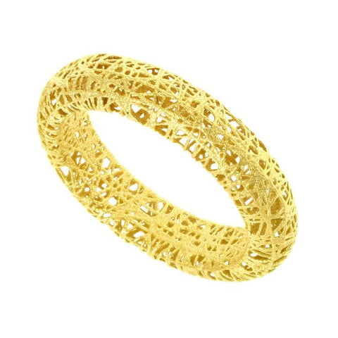 14K Gold Puffed Mesh Modern Ring