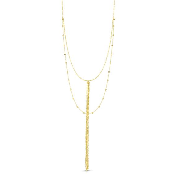 14K Tri Color Gold Statement Chain Fringe Layered Y Necklace