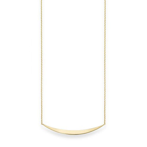 14K Yellow Gold Delicate Curved Bar Necklace