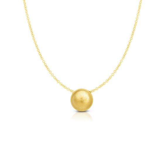 14K Yellow Gold Matt Bead Delicate Necklace