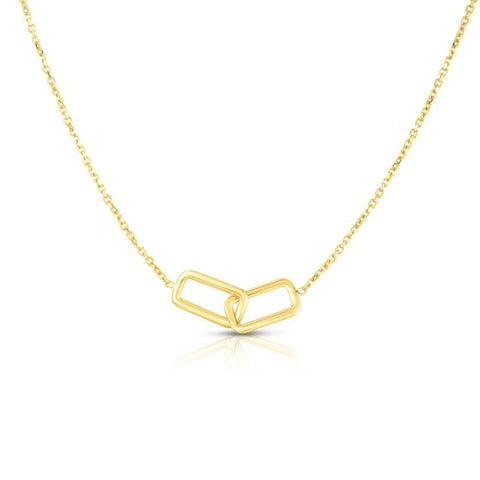 14K Yellow Gold Delicate Linked Geometric Rectangle Necklace