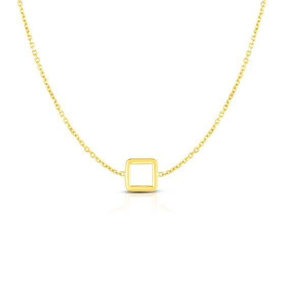 14K Yellow Gold Delicate Geometric Square Charm Necklace