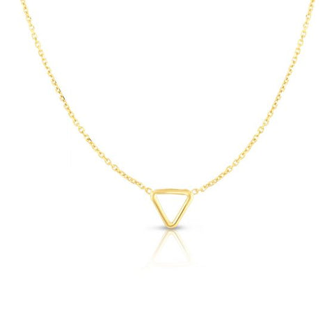 14K Yellow Gold Delicate Geometric Triangle Necklace
