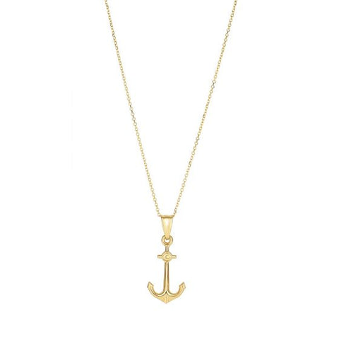 14K Yellow Gold Love Anchor Pendant Necklace