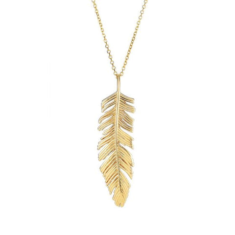 14K Gold Dangling Feather Pendant Necklace