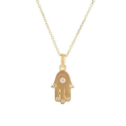 14K Gold Hamsa Necklace with 0.05ct Diamond