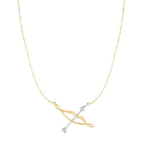 14K Two Tone Bow & Arrow Love Necklace