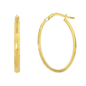10K Gold Diamond Cut Fancy Oval Tube Hoop Earring - Maggie Richmond