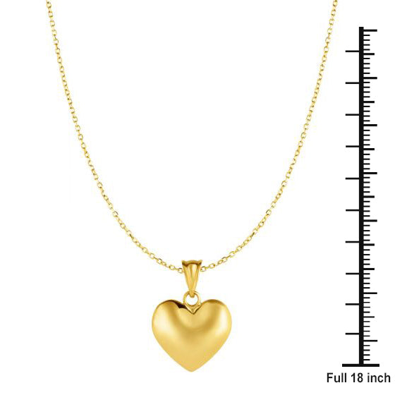 10K Yellow Gold Love Heart Pendant Necklace