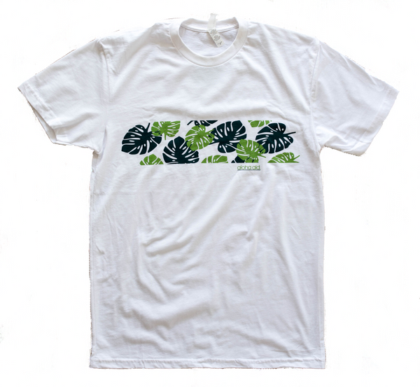 Hawaiian Print Band T-Shirt White