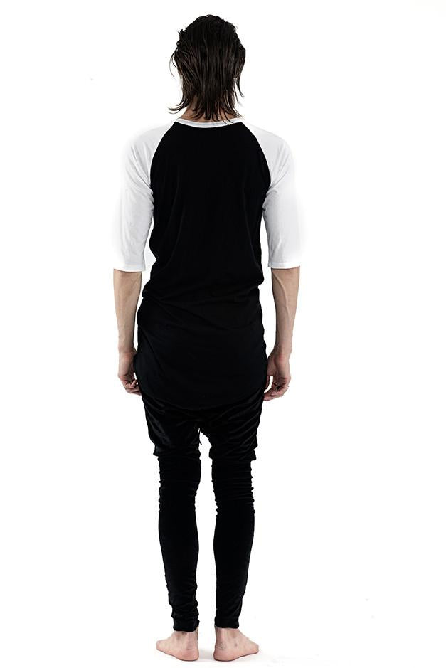 Baseball Tee ELONGATED- Black & White