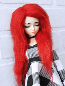 "7"" Red long in front fake fur wig by monstrodesigns Ready to Ship - Monstro Designs"