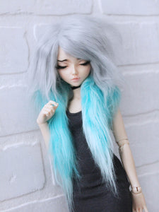 "7""  Grey to Teal long in front fake fur wig for dolls ready to ship - Monstro Designs"
