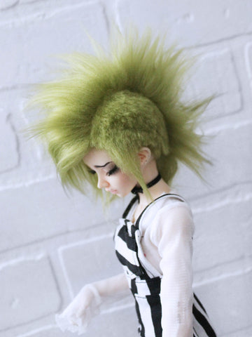 "7"" Moss Green under cut fake fur Minifee wig - Monstro Designs"