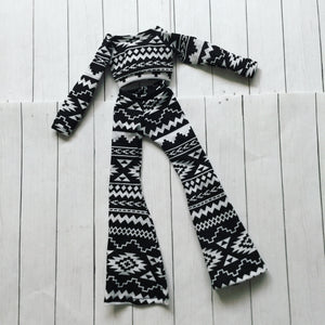 FLASH SALE Nordic print bell leggings and crop top set for Minifee dolls READY to SHIP - Monstro Designs