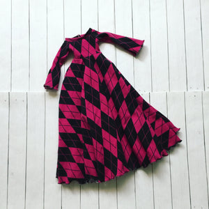 FLASH SALE Pink argyle bell sleeve leaf edge maxi dress for MSD dolls - Monstro Designs