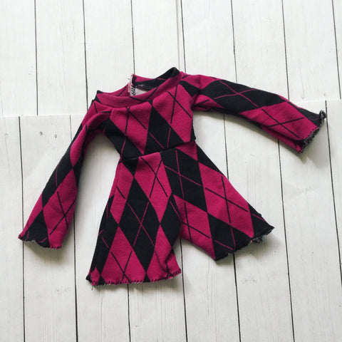 FLASH SALE pink argyle print romper - Monstro Designs