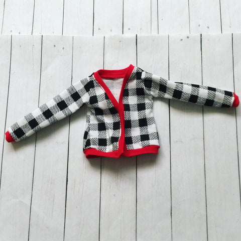 FLASH SALE OOAK red houndstooth cardigan for Mini Super Dollfie ready to ship - Monstro Designs