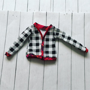 FLASH SALE OOAK red plaid houndstooth cardigan for Mini Super Dollfie ready to ship - Monstro Designs