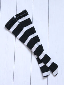 FLASH SALE Black Stripe Thigh high socks for BJD dolls - Monstro Designs