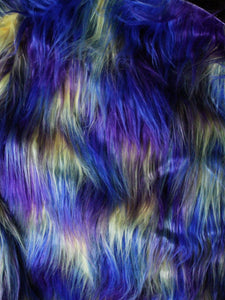 "3"" Purple, Blue, Yellow mix fake fur fabric by the piece - Monstro Designs"