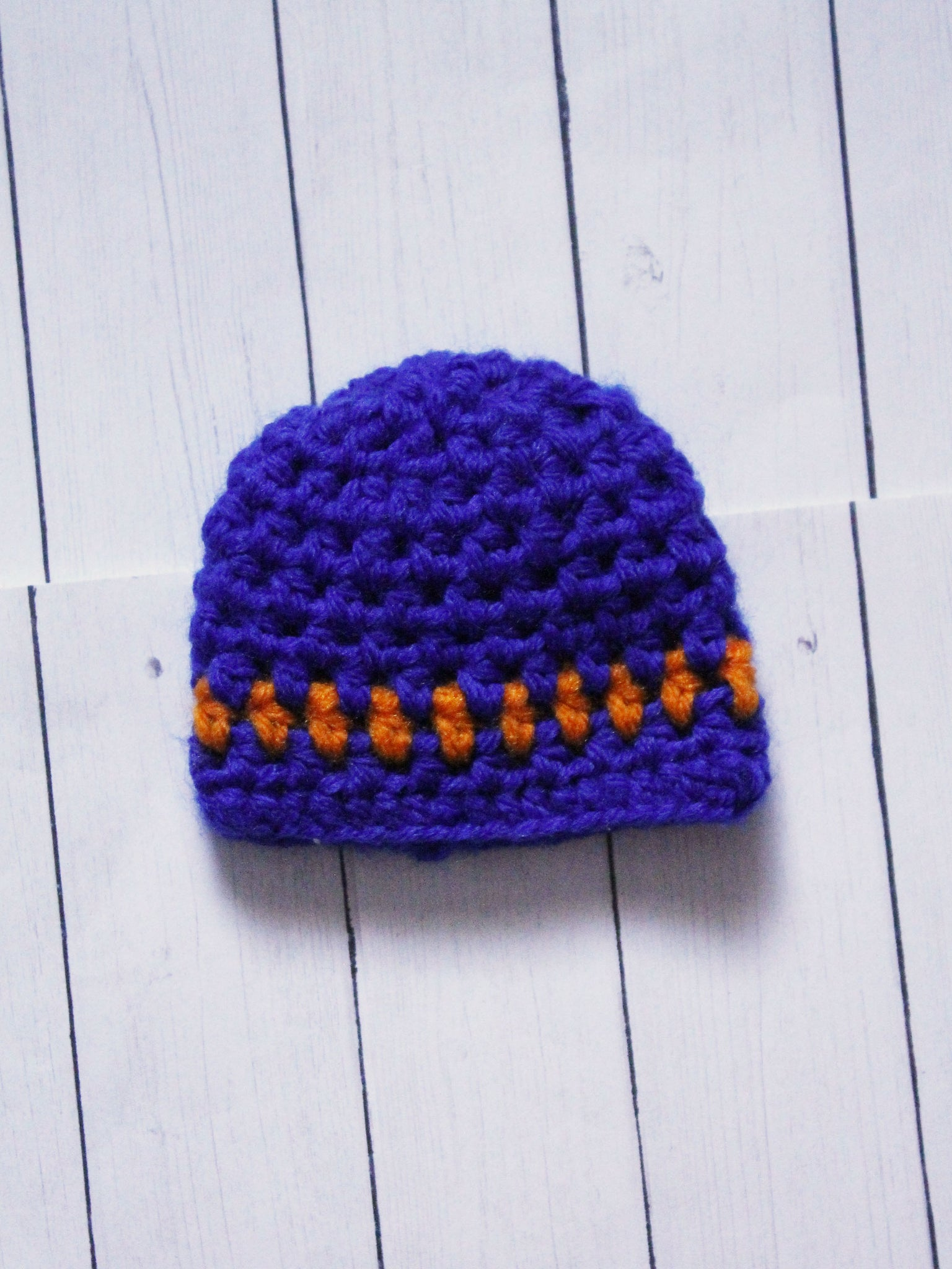 "Orange with Blue stripe Crochet beanie for 6-7"" MSD dolls by MonstroDesigns READY to SHIP - Monstro Designs"