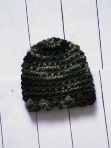 "Camo scallop Crochet beanie for 6-7"" MSD dolls by MonstroDesigns READY to SHIP - Monstro Designs"
