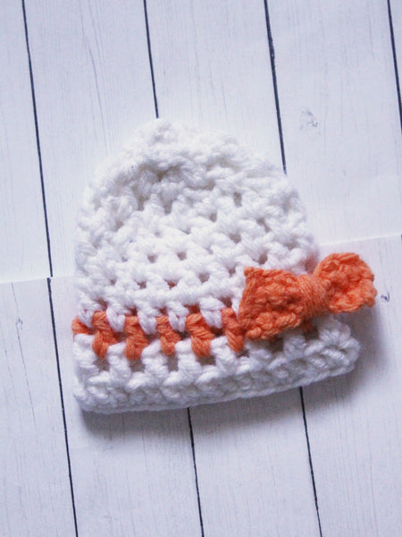 "White with orange stripe and bow Crochet beanie for 6-7"" MSD dolls by MonstroDesigns READY to SHIP - Monstro Designs"