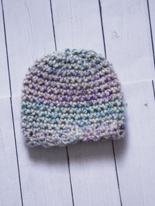 "Purple and Blue speckled mix scallop Crochet beanie for 6-7"" MSD dolls by MonstroDesigns READY to SHIP - Monstro Designs"