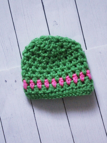 "Green with pink stripe Crochet beanie for 6-7"" MSD dolls by MonstroDesigns READY to SHIP - Monstro Designs"