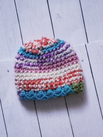 "Rainbow speckled mix scallop Crochet beanie for 6-7"" MSD dolls by MonstroDesigns READY to SHIP - Monstro Designs"