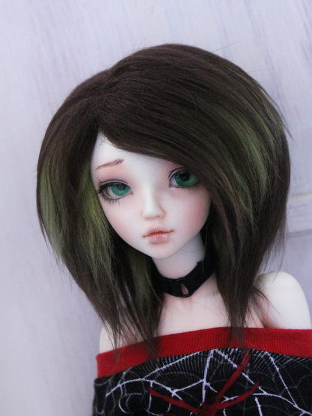 "6"" or 7"" Brown and Moss calico Shoulder length fake fur BJD wig READY to SHIP - Monstro Designs"