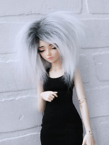 "6 or 7"" Grey to white tipped Shoulder length fake fur BJD wig ready to ship - Monstro Designs"