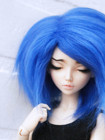 "6 or 7"" Royal Blue Shoulder length fake fur BJD wig READY to SHIP - Monstro Designs"