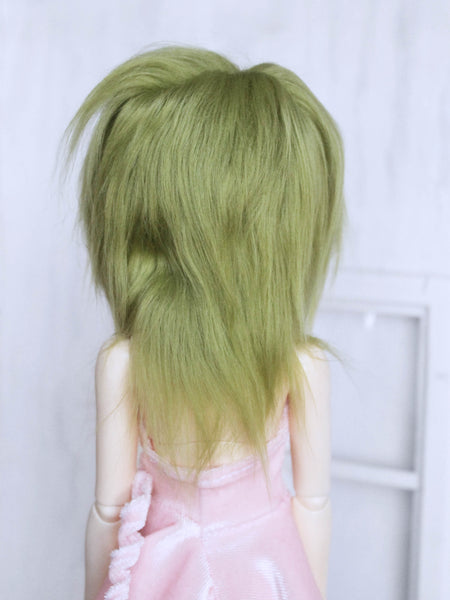 "6 or 7"" Moss Green long in back fake fur wig for MSD ready to ship - Monstro Designs"