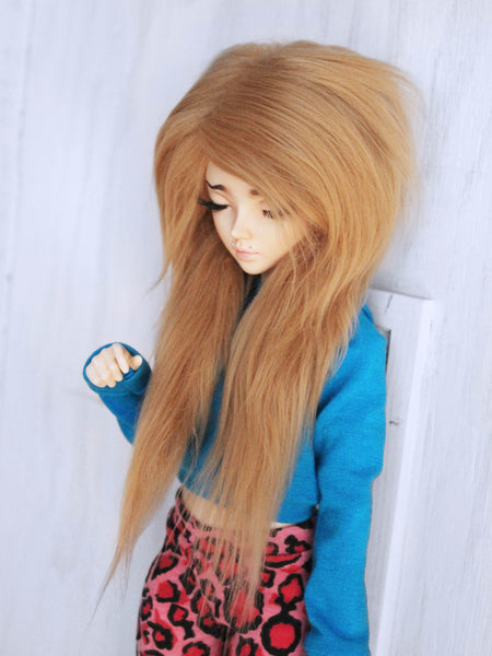"7"" Natural blonde long in front fake fur wig for Ball Jointed Dolls ready to ship - Monstro Designs"