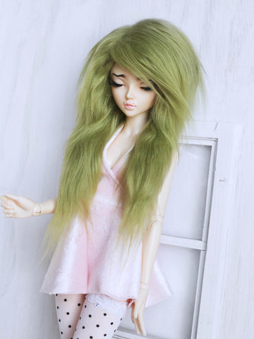 "6 or 7"" Moss Green long in front fake fur wig for Ball Jointed Dolls ready to ship - Monstro Designs"
