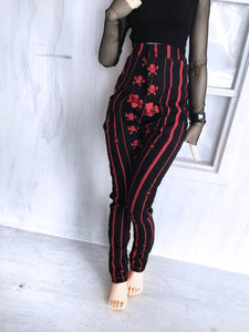 Black with red skulls high waisted Jeans for Minifee dolls ready to ship - Monstro Designs