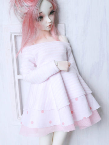 The Phoebe pink and white ruffle dress for MSD by MonstroDesigns Ready to ship - Monstro Designs