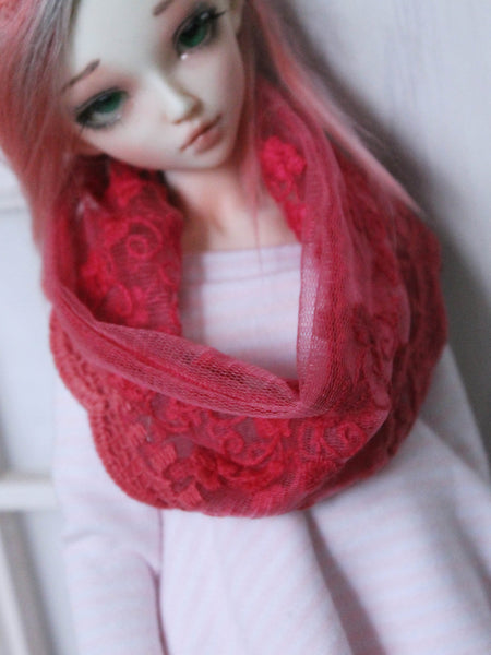Pink Lace infinity scarf for Mini super dollfie msd Ready to Ship - Monstro Designs