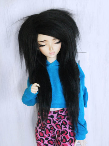 "6-7"" Black long in front fake fur wig for Ball Jointed Dolls - Monstro Designs"