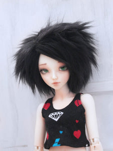 "6 or 7"" black Short boy length fake fur BJD wig READY to SHIP - Monstro Designs"