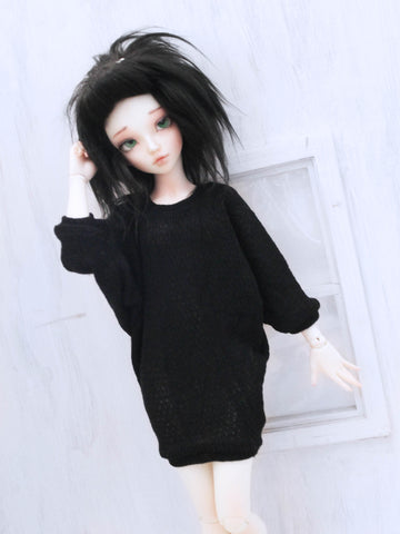 Black textured Bat sleeve dress for Minifee Ready to Ship - Monstro Designs