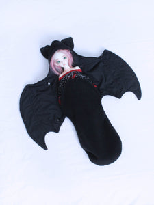 Solid Black Bat Wrap For MSD sized Ball Jointed Dolls - Monstro Designs