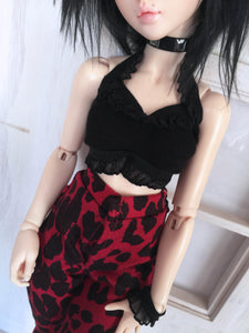 Black lace punk style halter crop top for slim msd Ready to Ship - Monstro Designs