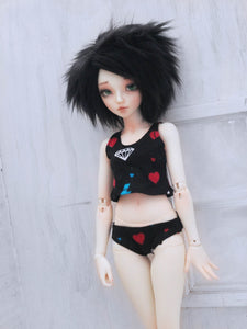 Black Diamonds crop top and undies set for Minifee READY to SHIP - Monstro Designs