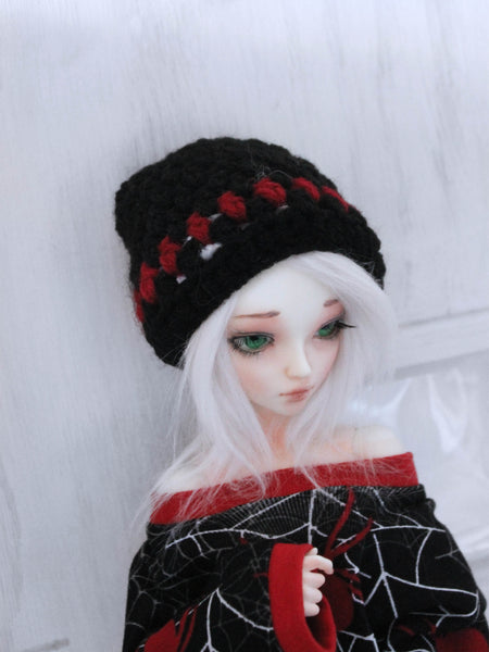 "Blues Floral Crochet beanie for 6-7"" MSD dolls by MonstroDesigns READY to SHIP - Monstro Designs"